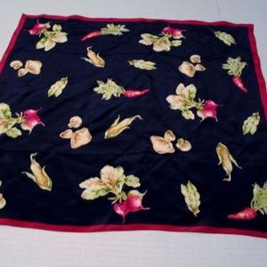 "Talbots Silk Scarf 20"" Square Vegetable Motif Corn"